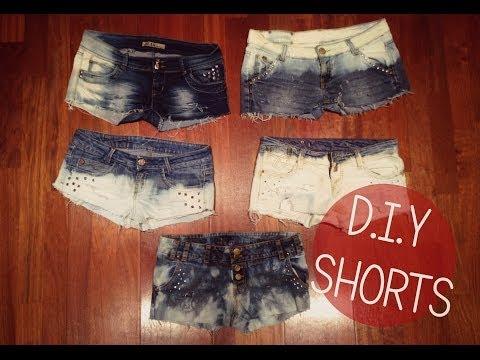 DIY shorts rotos y desgastados. Pantalones nuevos reutilizando los viejos. Fácil y barato.