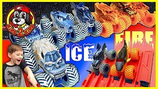 Monster Jam Fire & Ice Downhill Drag Racing Showdown (Megalodon, Dragon, Yeti, Wildfire, Dalmatian)