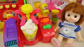 Play doh and baby doll pop corn making play Doli house