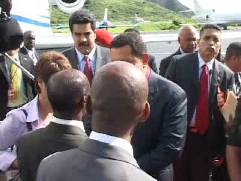 Hugo Chavez Arrives St. Kitts for Petrocaribe Summit