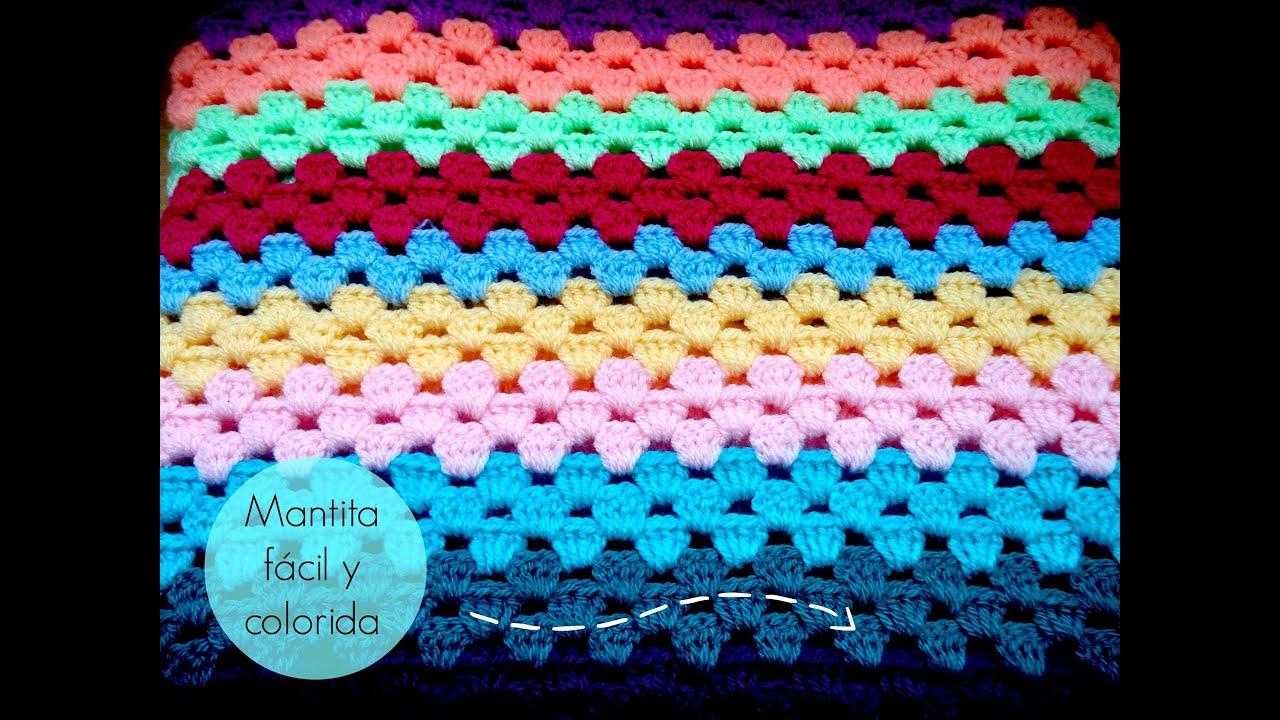 Manta f cil de ganchillo easy crochet blanket tutorial - Manta de crochet facil ...