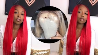 WATCH ME SLAY THIS WIG START TO FINISH| BLONDE TO RED IN 5 MINUTES | Ft. DivasWigs | Lovevinni_