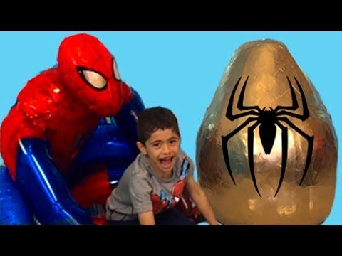 Super Giant Golden Surprise Egg - Spiderman Egg Toys Opening + 1 Kinder Surprise Eggs Unboxing