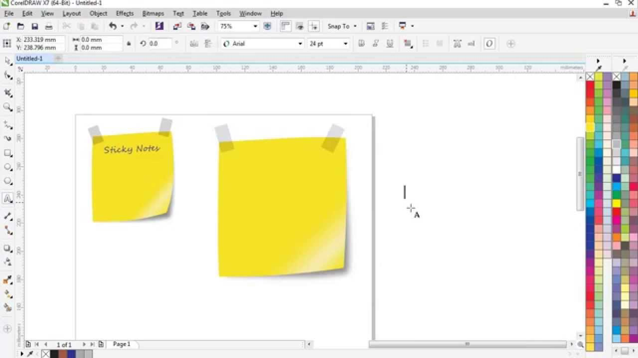 How to Design a Sticky Note CorelDraw X7 Tutorial - YouTube