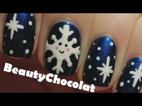 Kawaii Snowflake Nail Art - Winter Christmas Nails