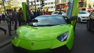 Green AVENTADOR Fake 50 ANNIVERSARIO drive at Berlin Kudamm! ( in detail, accelerations, sound...)