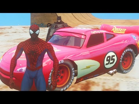 Batman, Spiderman Marvel comics & Flash McQueen Disney Cars 2 | Dessin Animé pour enfant