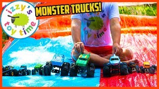Cars for Kids! MONSTER TRUCKS AND SLIP N SLIDE OUTDOOR WATER PRETEND PLAY! Awesome Hot Wheels!