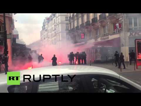 France: See police clash with Bastia football supporters in Paris