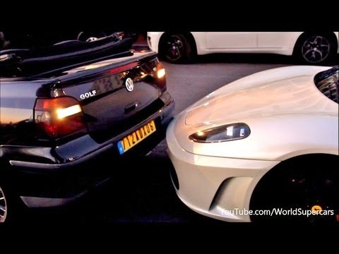 Ferrari F430 Being HIT 4 Times by Reversing Car !!