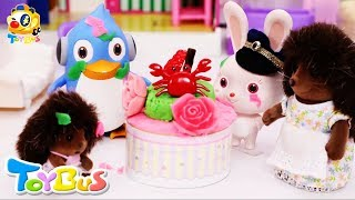 Play Doh Birthday Cake | Playful Fish Toy | Play Doh Videos | Pretend Play | Toy Kitchen | ToyBus