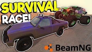MONSTER TRUCK SURVIVAL RACE & CRASHES! - BeamNG Gameplay & Crashes - Car Crash Game