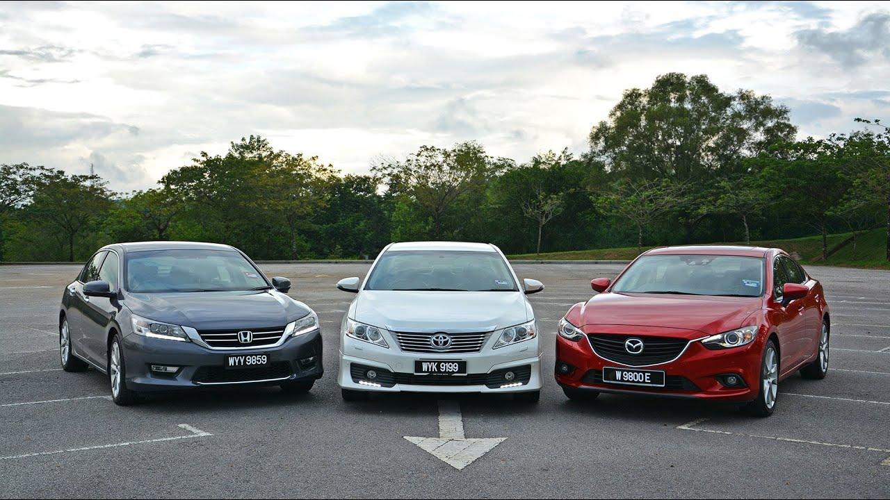 Honda Accord Vs Ford Fusion >> DRIVEN #5: Toyota Camry 2.5 vs Honda Accord 2.4 vs Mazda6 2.5 - YouTube