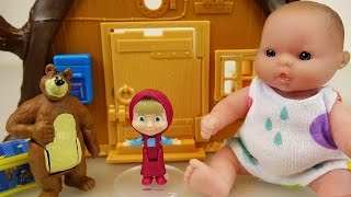 Baby doll and Marsha and the Bear house toys play