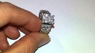 14kt Invisible set 6 Princess cut 1.5 TCW diamond engagement ring