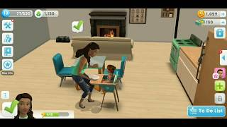 Sims mobile game play #3 the baby ages up to toddler!👨‍👩‍👧👶🏾