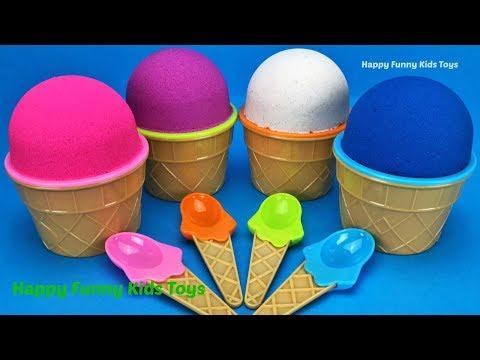 Kinetic Sand Ice Cream Surprise Toys Chupa Chups Kinder Joy Mineez Kinder Egg Learn Colors for Kids