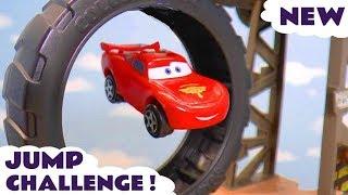 Hot Wheels Cars 3 Jump Challenge with DC Comics & Marvel Avengers 4 vs Pixar McQueen & PJ Masks