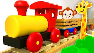 Learn wild Animals on wooden Train for kids | Tino - Toys & Toddlers