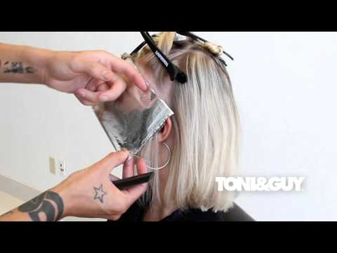 How to Color & Highlight Hair   TONI&GUY Hair Color Technique [Platinum blonde / Champagne blonde]