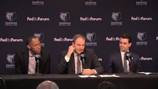 Memphis Grizzlies' new head coach Taylor Jenkins gets emotional during introductory presser