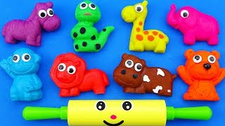 Learn colors Play Doh Modelling Clay Wild Animals Molds Kinder Surprise Eggs nursery rhymes