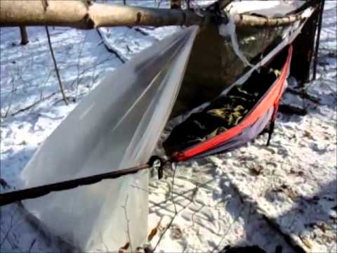 ENO Hammock Super Shelter WInter Camping: Sleeping Warm Above The Snow