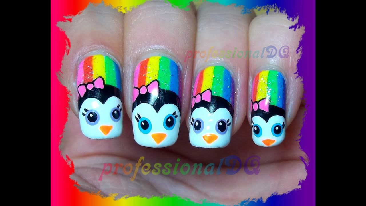 Rainbow Penguin Nails
