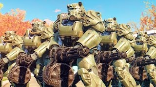 Pre-War Soldiers VS Brotherhood of Steel - Fallout 4 NPC Fight