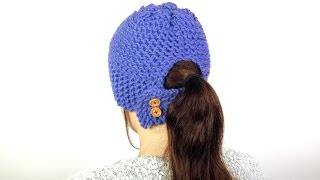 How to Loom  Knit a Ponytail Hat (DIY Tutorial)