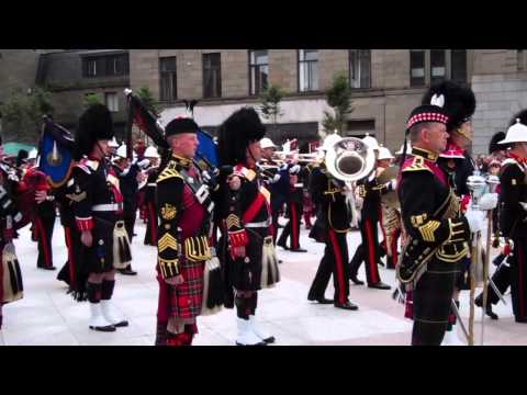 Pipers Playing Scotland The Brave Mini Military Tattoo City Square Dundee Scotland