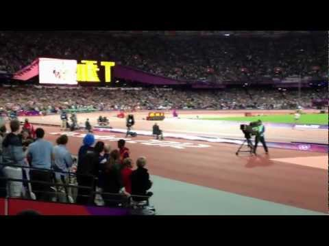 Sebastian Coe watches Mo Farah win the 10,000m at the London Olympic 2012