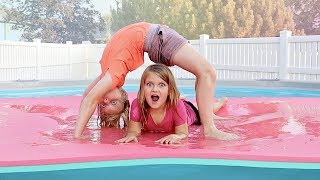 Family Gymnastic Challenge in our POOL!