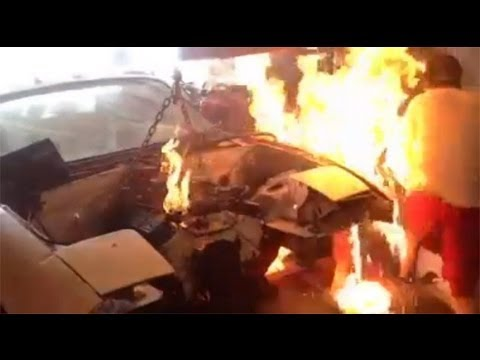 Chevy 350 miata drift car fire
