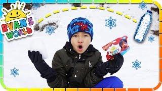 BOTTLE FLIP In The Snow For Ryan's World Toys 🤣☃️❄️