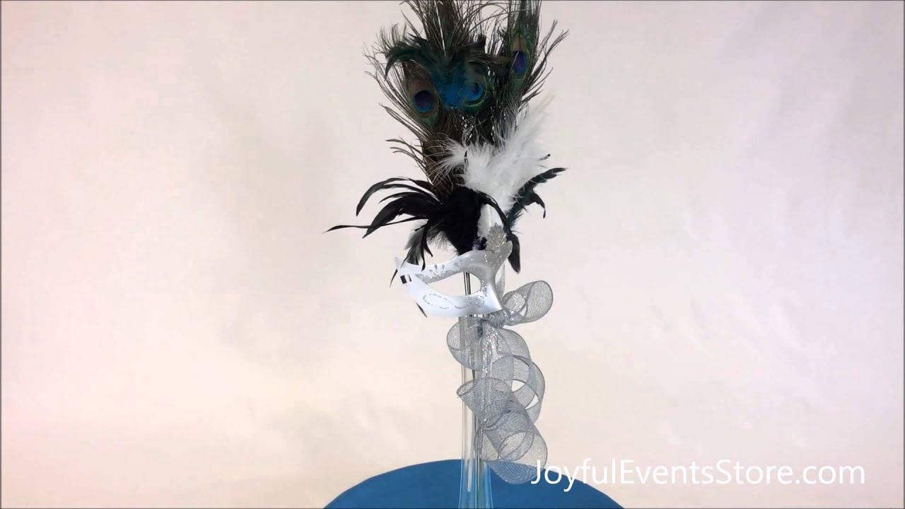 Quot peacock feathers with mask centerpiece cp youtube