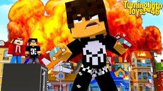 Minecraft Toys #46 - BOBBY THE BULLY IS A GIANT & DESTOYS THE CITY!!