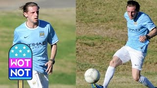 Twinkle Toes Billy Elliot star Jamie Bell, shows off his Soccer Skills wearing Manchester City top!