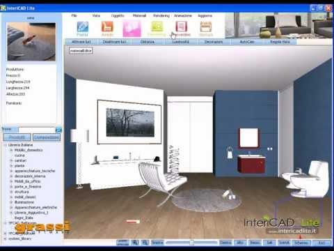 Progetto arredo presentazione 3D di un bagno – InteriCAD Lite Demo3 – YFCAD – Grassi Srl