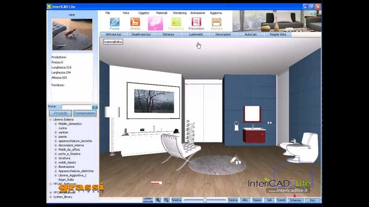 Progetto arredo presentazione 3d di un bagno intericad for Programma per arredare cucina