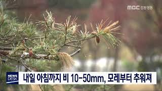 데스크)내일까지 비 10-50mm, 모레부터 추워져