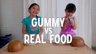 MAKAN ICE CREAM RASA UNICORN | GUMMY VS REAL FOOD