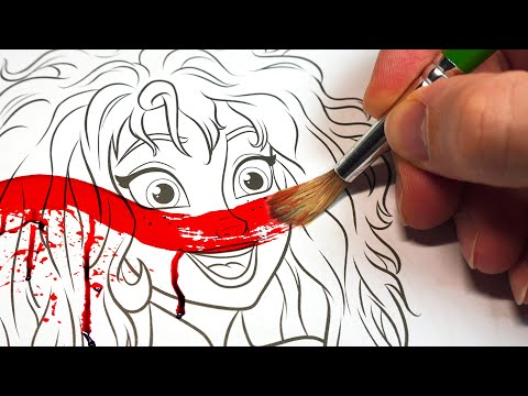 HORROR Artist vs $2 DISNEY FROZEN Colouring Book