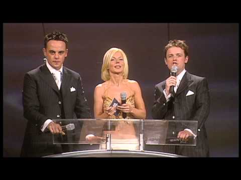 Robbie Williams wins British Male presented by Geri Halliwell | BRIT Awards 2001