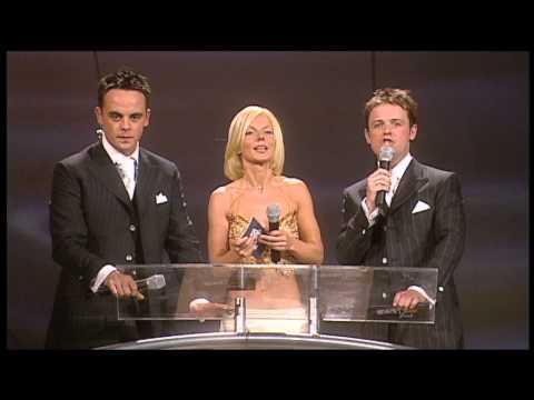 Robbie Williams wins British Male presented by Geri Halliwell | BRIT Awards 2001