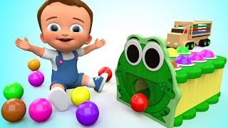 Learn Colors for Children with Baby Wooden Frog Hammer Toy Set Colors Balls 3D Kids Educational ESL