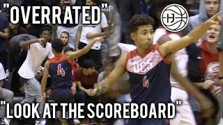 "Julian Newman SHUTS UP ""OVERRATED"" CHANTS WITH 9 THREES! SHUSHES THE CROWD! POINTS AT SCOREBOARD"