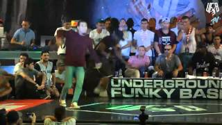 underground funky base vol 8 world final 1 vs 1 b-boy quarter-final (kool-de vs okan)