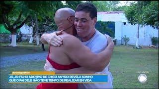 Filho de Chico Anysio se emociona ao rever Paulo Cintura