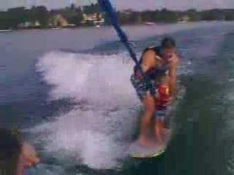 Wes's First Wake Surf Ride Video